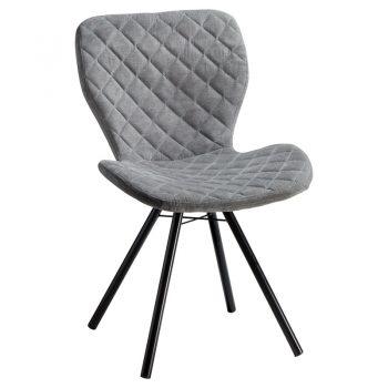 Comfortabele stoel grijs met zwart metalen onderstel. 53x56x83 cm (lxbxh).