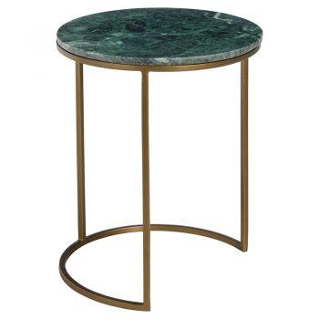 Chique bijzettafel met groen tafelblad van natuursteen en poten van goudkleurig metaal. 41x49 cm (dxh).