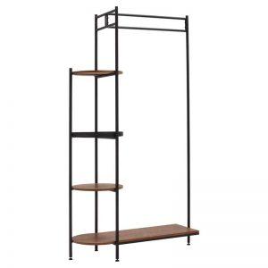 Modern kledingrek met houten planken en metalen frame. 100x40x181 cm (lxbxh).