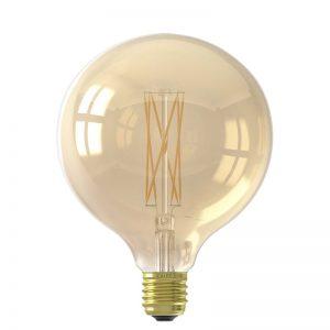 Dimbare goudkleurige led filament lamp. 4 Watt. Grote fitting E27. Energieklasse A+.