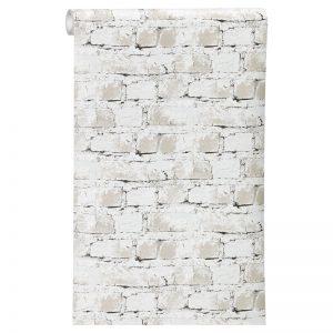 Stoer vliesbehang met baksteenprint. Kleur: grijs.