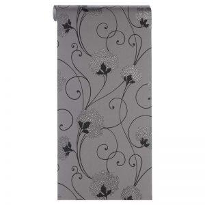 Vliesbehang grijs met sierlijk bloemdessin. Normaal afwasbaar. Voorzien van het FSC-keurmerk. Plakken met Perfax Roll-On. 10 meter per rol.