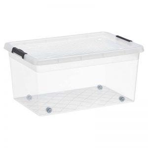 Opbergbox van transparant kunststof. 58x39x25 (lxbxh).
