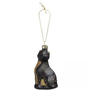 Hanger met goudkleurig en zwart dessin in de vorm van een luipaard. 11 cm hoog. Set van 3 stuks.