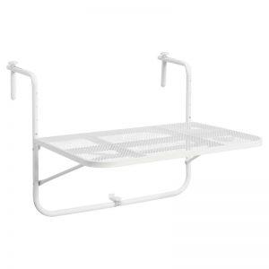 Moderne balkontafel van geperforeerd wit metaal. Eenvoudig opvouwbaar en neemt weinig ruimte in. 72x60 cm (lxb).