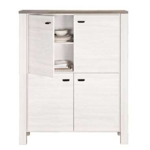 Barkast Lynn - wit eikenkleur - 150x119