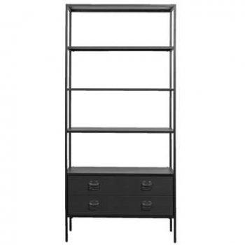 Woood boekenkast Derby - zwart - 205x95x38 cm - Leen Bakker