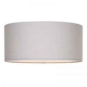 Sfeervolle plafonniere Izar met ronde linnen kap. Kleur: grijs. Doorsnede: 45 cm.