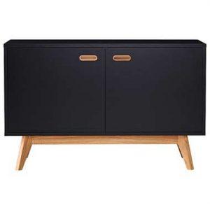 Tenzo dressoir Bess - zwart/eiken - 72x114x43 cm - Leen Bakker