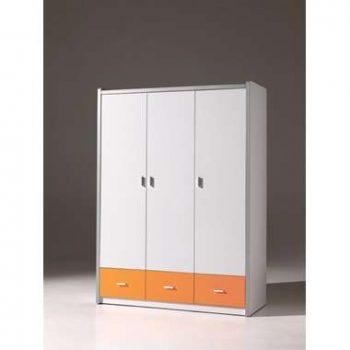 Vipack kledingkast Bonny 3-deurs - oranje - 202x141x60 cm - Leen Bakker