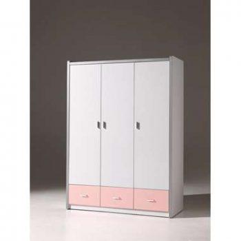 Vipack 3-deurs kledingkast Bonny - lichtroze - 202x141x60 cm - Leen Bakker