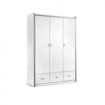 Vipack kledingkast Bonny 3-deurs - wit - 202x141x60 cm - Leen Bakker