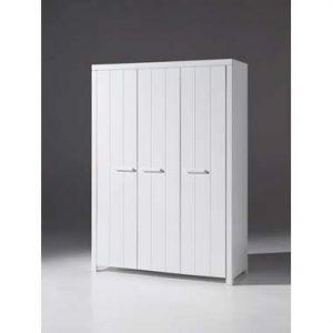 Vipack kledingkast Erik 3-deurs - wit - 205x144x55 cm - Leen Bakker