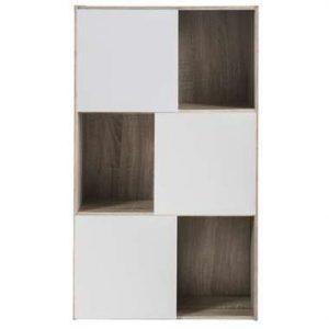 Demeyere boekenkast Polsi - wit/eikenkleur - 106