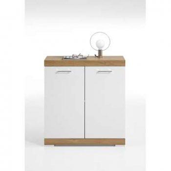 Commode Bristol - oud eikenkleur/wit edelglans - 80x90x35 cm - Leen Bakker