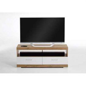 TV-Meubel Bristol - oud eikenkleur/wit edelglans - 120x50x35 cm - Leen Bakker