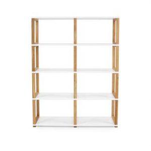 Tenzo boekenkast Art - wit/eikenkleur - 156x120x36 cm - Leen Bakker
