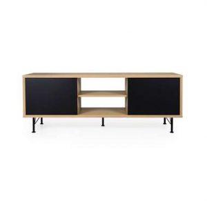 Tenzo tv-meubel Flow - eikenkleur/zwart - 60x164x44 cm - Leen Bakker