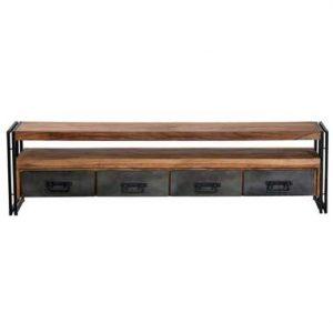 TV-meubel Quin - naturel/zwart - 55x200x40 cm - Leen Bakker