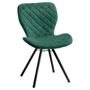 Comfortabele groene stoel met zwart metalen onderstel. 53x56x83 cm (lxbxh).