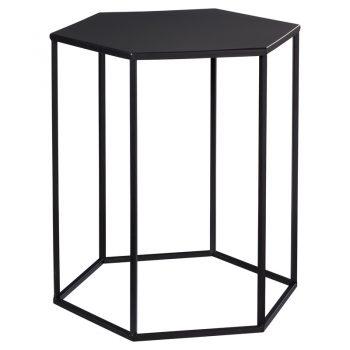 Strakke bijzettafel zwart met hoekige vormgeving. 40x40x45 cm (lxbxh).