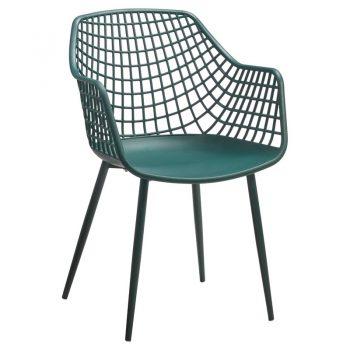 Hippe kuipstoel met opengewerkte groene zitting en metalen poten. 56x57x84 cm (lxbxh).