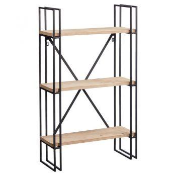 Wandrek met zwart metalen frame en drie houten planken. 60x23x100 cm (lxbxh).
