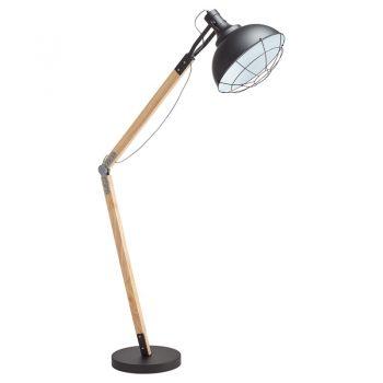 Stoere vloerlamp met zwarte kap en verstelbare voet. Grote fitting E27. 170 cm hoog.