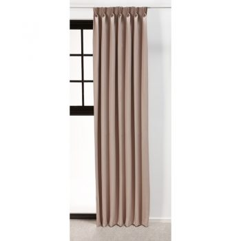 Stijlvol gordijn van polyester geschikt voor in ieder interieur. Kleur: beige.