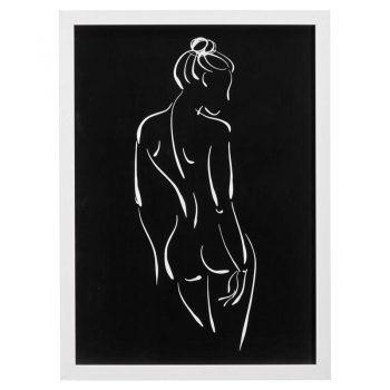 Wanddecoratie met witte omlijsting en lijntekening van het vrouwelijk lichaam. 54x75 cm (lxb).