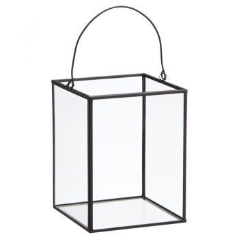 Modern glazen windlicht met metalen zwarte randen. Afmeting: 13x17 cm (dxh).