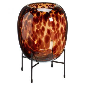 Glazen vaas in de kleur bruin met zwart metalen standaard. Zowel geschikt voor bloemen of sfeerdecoratie. (exclusief kaarsen). 23 cm doorsnede.