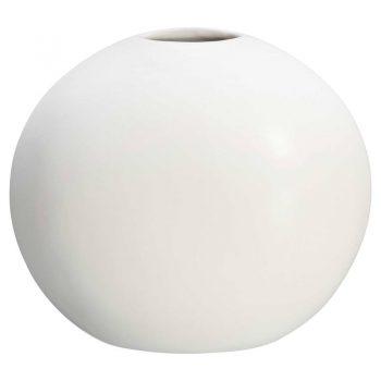 Vaas met ovale vorm van wit dolomiet. 21 cm hoog.