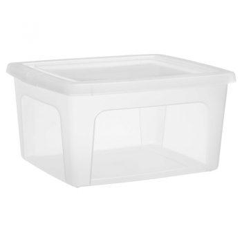 Handige kunststof opbergbox met losse deksel. Inhoud: 19 liter. Afmeting: 40x34x20 cm (lxbxh).