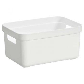 Kunststof opbergbox wit. Excl. deksel. 35x25x18 cm (lxbxh).