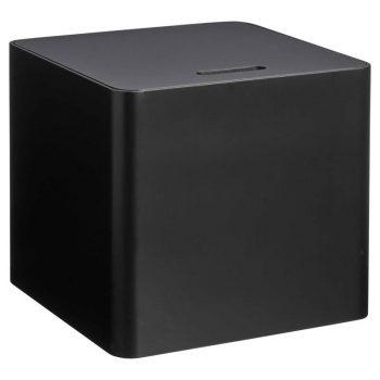 Zwart houten kist. 30x30x27 cm (lxbxh).