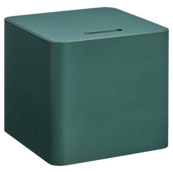 Groen houten kist. 30x30x27 cm (lxbxh).