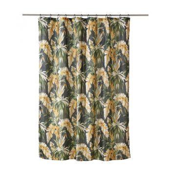 Douchegordijn in multicolor met bladdesign. 180x200 cm (bxl).