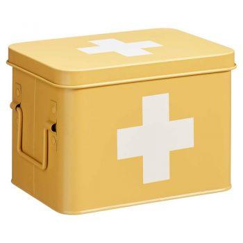 Metaal okerkleurige medicijnbox. 15