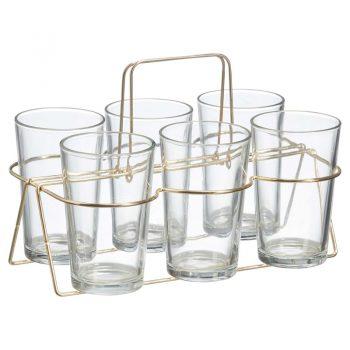 Drinkglazen transparant in een gouden tray. Aantal 6 stuks.