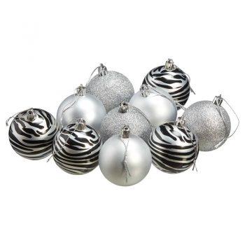 Kerstballenmix met zebraprint