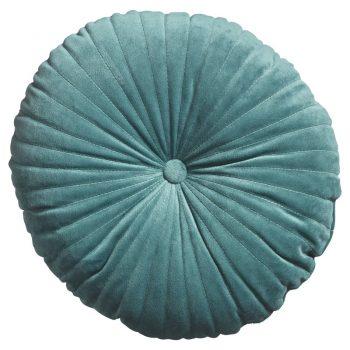 Rond kussen van zachte groene stof. 35 cm doorsnede.