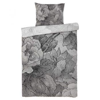 Dekbedovertrek met bloemenprint in grijstinten. 2-persoons. 200x200 cm (lxb).