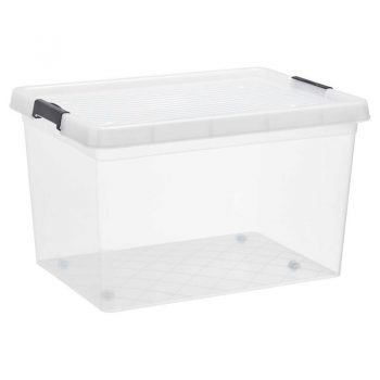 Handige plastic opbergbox. Inhoud: 145 liter. Afmeting: 76x57x42 cm (lxbxh).