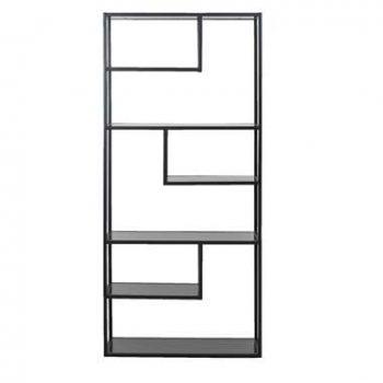 WOOOD boeken kast Teun - zwart - 188x85x35 centimeter - Leen Bakker