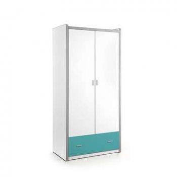 Vipack 2-deurs kledingkast Bonny - turquoise - 202x97x60 cm - Leen Bakker