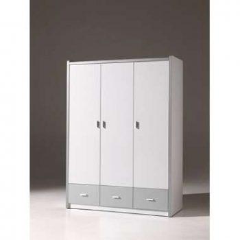 Vipack kledingkast Bonny 3-deurs - zilver - 202x141x60 cm - Leen Bakker