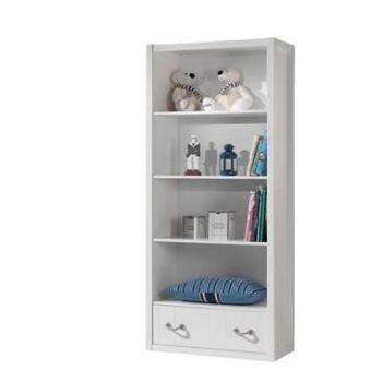 Vipack boekenkast Lewis - wit - 200x87x40 cm - Leen Bakker