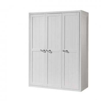 Vipack 3-deurs kledingkast Lewis - wit - 200x145x59 cm - Leen Bakker