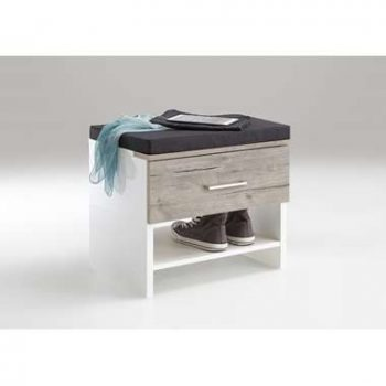 Garderobe bankje Shanghai - hoogglans wit/zandkleur - 42x50x38 cm - Leen Bakker